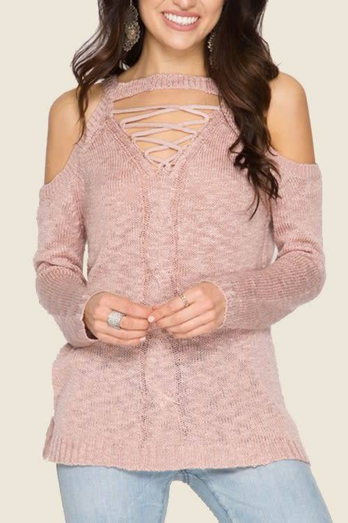 She Sky Cold Shoulder Lace Up Sweater Dusty Rose Boutique 23