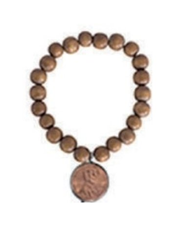 Penny Lane Good luck penny wood bead bracelet