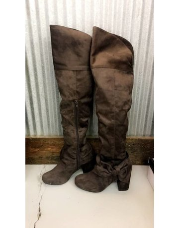Over The Knee Bow Detail Boots - Chocolate