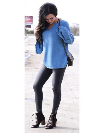 Umgee Thermal Bell Sleeve Waffle Knit