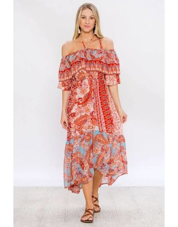 Flying Tomato Paisley Print Halter Maxi Dress