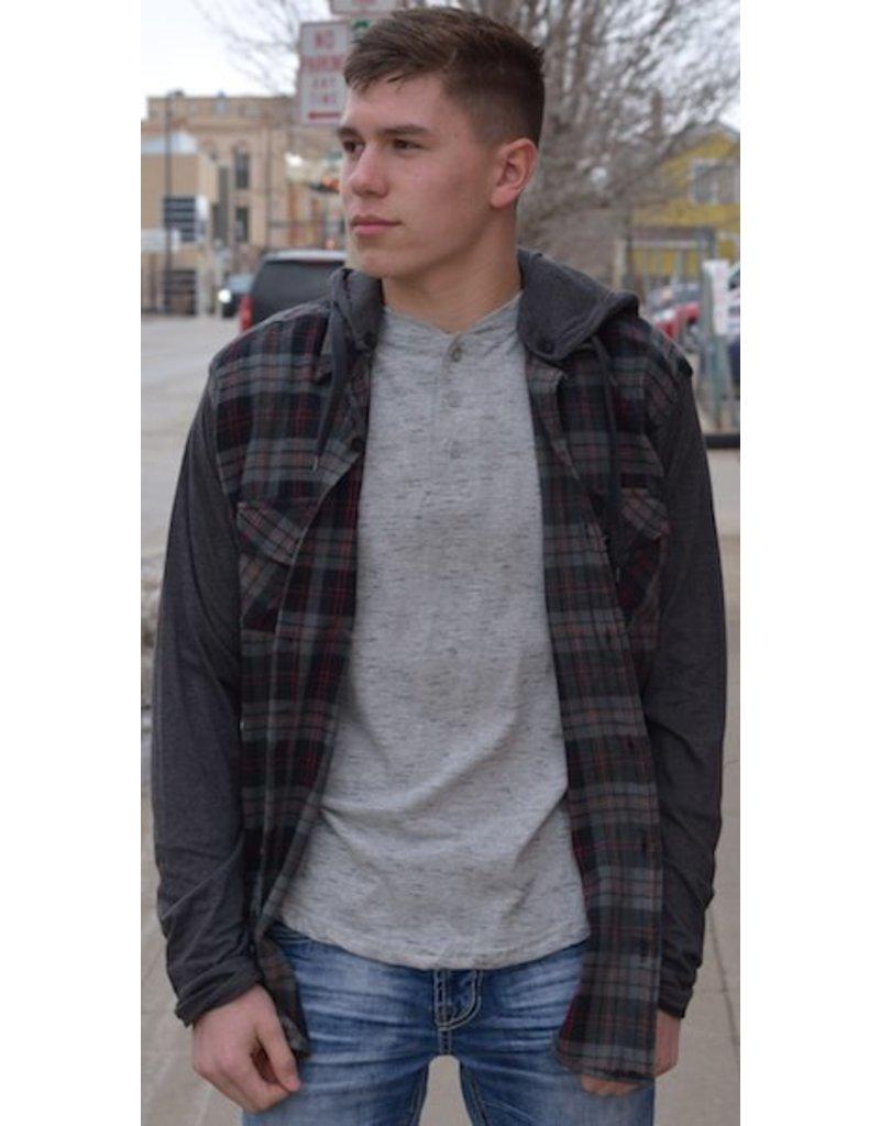 Plaid Hoodie With Grey Sleeve
