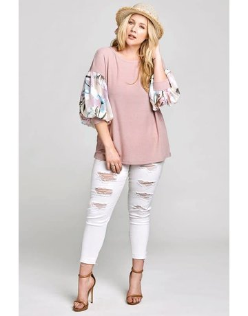 Oddi Dusty Pink Thermal Body Floral Bubble Sleeves