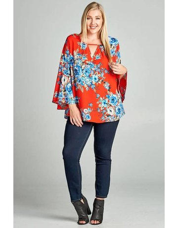 Oddi Red Blue Floral Bell Sleeve Top