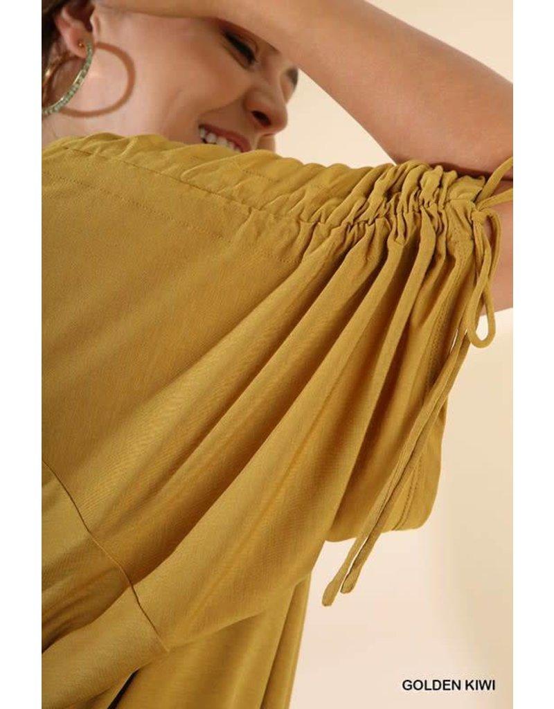 Mustard High Low w/ Cinched Drawstring Dolman Sleeves