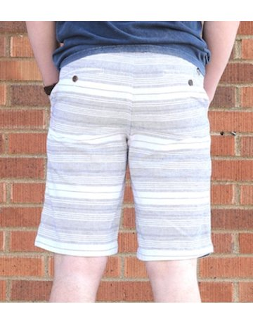 Flag and Anthem Navy Striped White Shorts