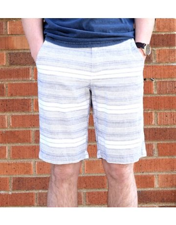 Navy Striped White Shorts