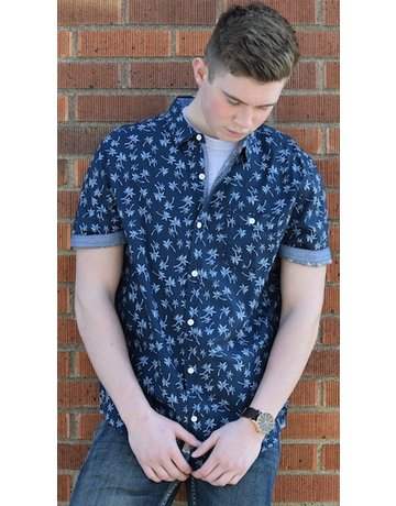 Flag and Anthem Navy Palm Tree SS Button Up