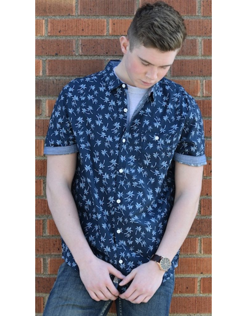 Navy Palm Tree SS Button Up