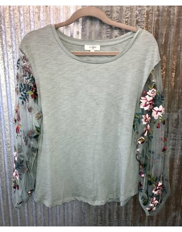 Umgee Floral Embroidered Sheer Puff Sleeve Top
