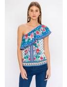 Blue Floral Polka Dot One Shoulder Top