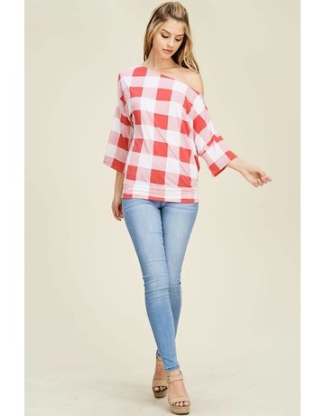 white birch Coral Checkered Off the Shoulder Top