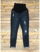 Dark wash Distressed Maternity Jeans