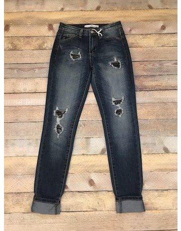 Mid Rise Ankle Jean w/Black Sequins