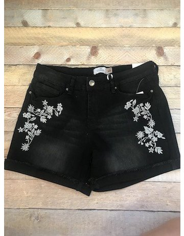 YMI Black Floral Embroidery Shorts