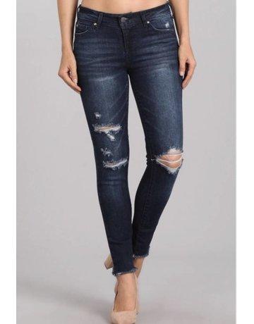Midnight Wash Raw Hem Jeans