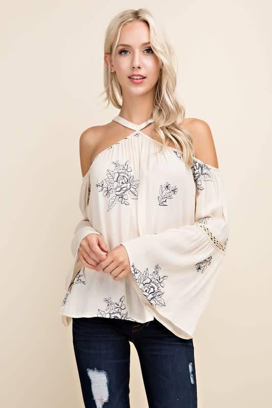 e4f3412ca7bb77 Floral Embroidered Cold Shoulder Top - Boutique 23