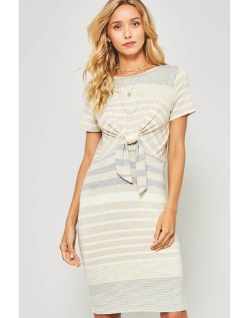 promesa Multi Stripe Knit Dress With Waist Knot