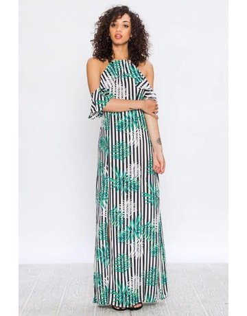 Flying Tomato Leaf Print Cold Shoulder Maxi Dress