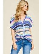 Dolman Sleeve Striped Button Up