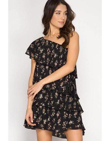 She + Sky Off Shoulder Floral Ruffle Dress