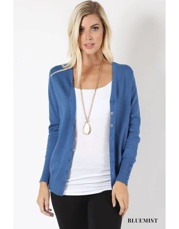 Zenana Button Up Cardigan w/ Button Detail