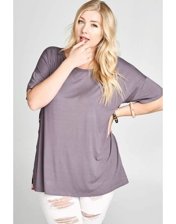 Oddy Loose Fit Knit Top w/Floral Back Panel