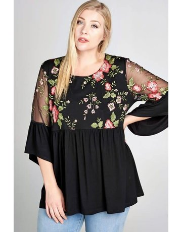 Oddy Solid Blouse w/Sheer Floral Embroidered Details