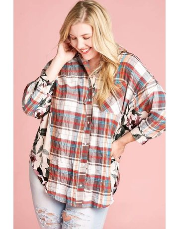 Oddy Oversized Woven Plaid Button-Down