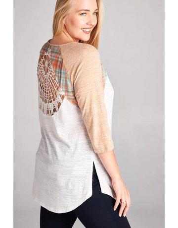 Oddy Crochet Lace Back Colorblock Raglan Top