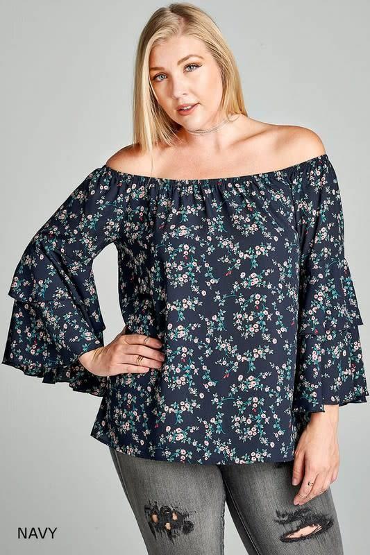 ed6d5ebd189fe8 Bell Sleeve Off-Shoulder Floral Print Top - Boutique 23