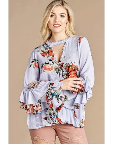 Oddy Floral Wrap Top w/Double Ruffled Sleeves