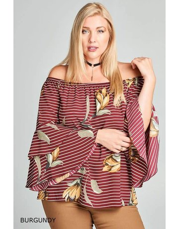Oddy Striped and Floral Off-Shoulder Bell Sleeve Top