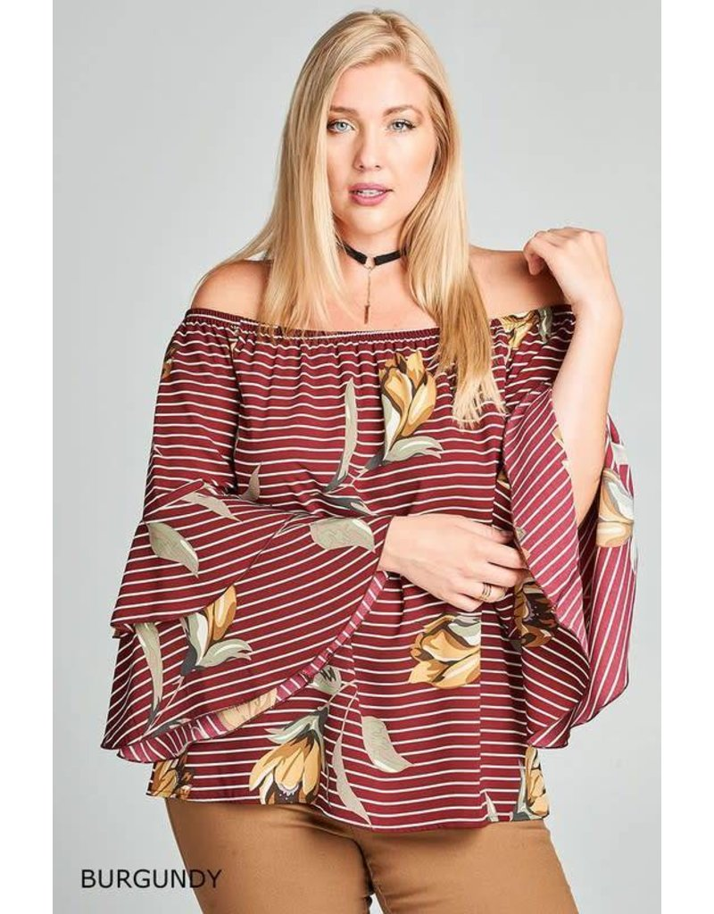 Striped and Floral Off-Shoulder Bell Sleeve Top
