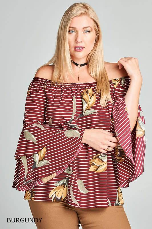 8a0da1c0d99fd Striped and Floral Off-Shoulder Bell Sleeve Top - Boutique 23