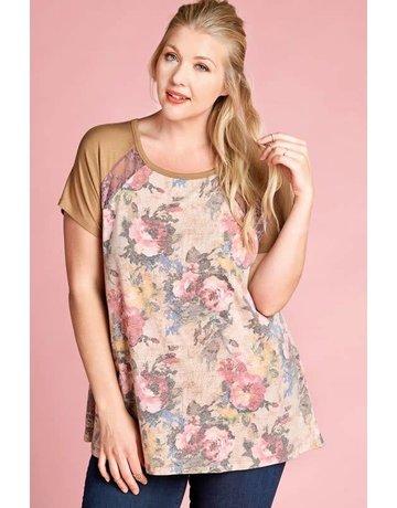 Oddy Floral Print Top w/Solid Raglan Short Sleeves