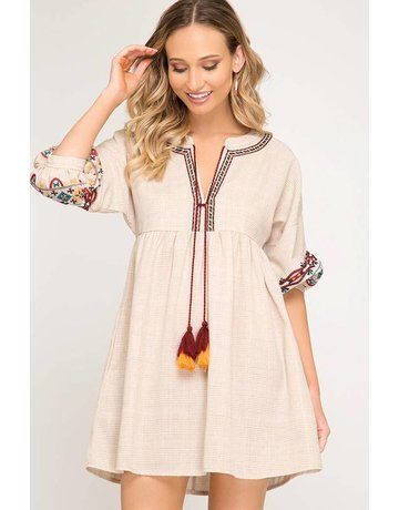 She + Sky Woven Dress W/ Embroidered Sleeves and Tassel
