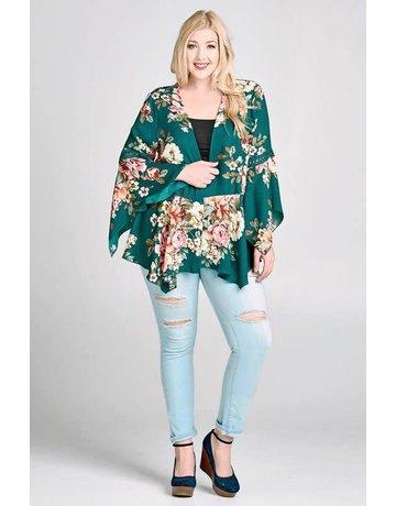 oddi plus Woven Floral Teal Kimono w/ Crochet Detail