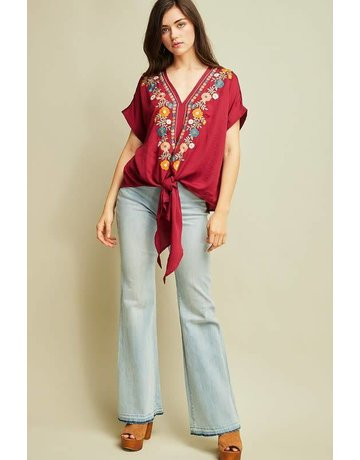 Entro Burgundy Floral Embroidered V-Neck