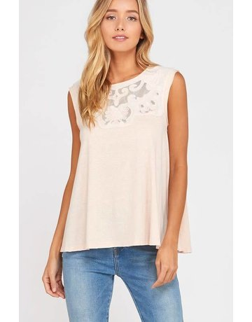 wish list Blush Sleeveless Lace Neckline Tank