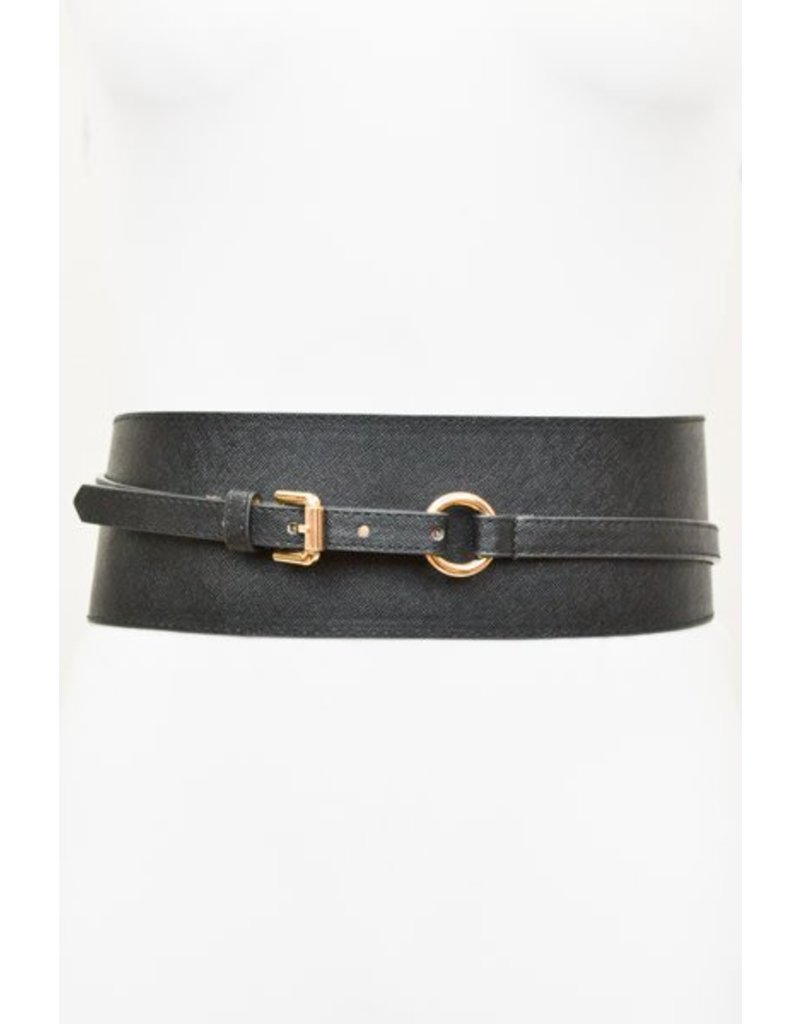 Leather Waist Belt w/Gold Hardware