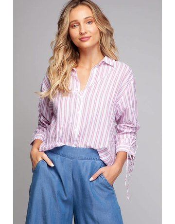 Always and Forever 3/4 Rouched Sleeve Button Down