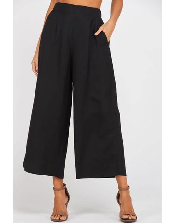 Black Wide Leg Pleated Linen Pants w/ Pockets