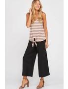 Black Wide Leg Pleated Linen Pants w/ Pockets