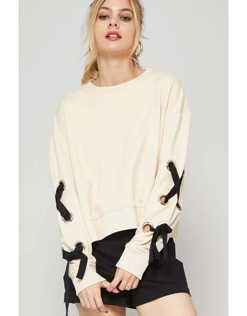 promesa Lace Up Sweater w/ Grommet Detail
