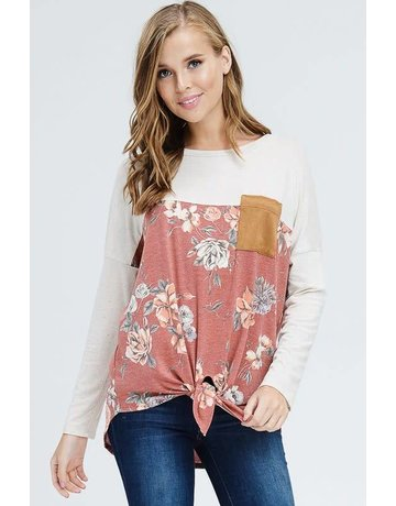white birch Front Self Tie Knot Floral and Solid Knit Top