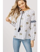 Listicle Embroidery Round Neck Peasant Top