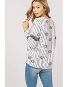 Embroidery Round Neck Peasant Top