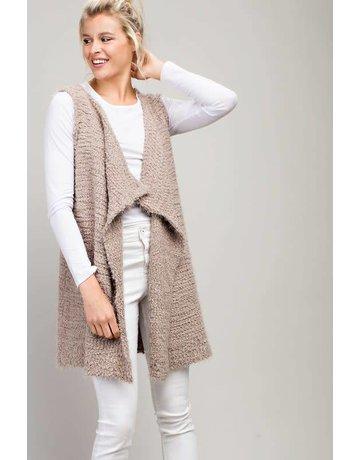 L Love Popcorn Knit Cardigan Vest