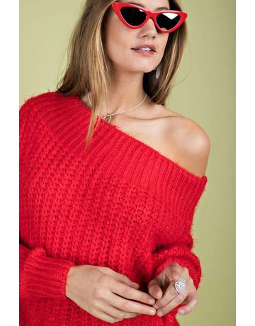 Main Strip Apparel Off the Shoulder Wool Sweater